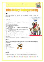 English Worksheet: Professions - The Kindergarten Cop (Movie Activity)