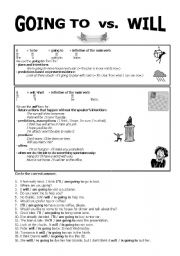 English Worksheet: GOING TO vs. WILL