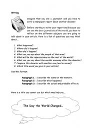 English Worksheets: writing about a disaster
