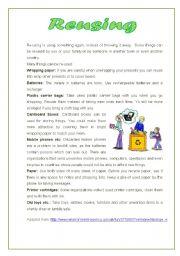 English Worksheets: reusing