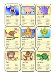 English Worksheet: Animal Card Game (2)