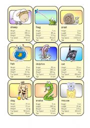 English Worksheets: Animal Card Game (5)