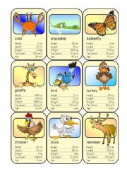 English Worksheet: Animal Card Game (4)