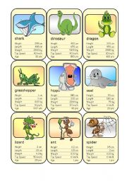 English Worksheet: Animal Card Game (1)