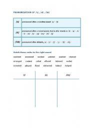 English Worksheet: Pronunciation of -ed