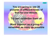 English powerpoint: Fruit - Kim´s game 2