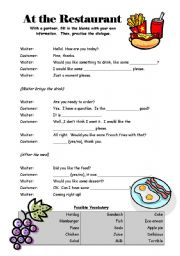 English Worksheet: At the Restaurant - Dialogue