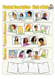 English Worksheet: Physical Descriptions - Hair - Exercise