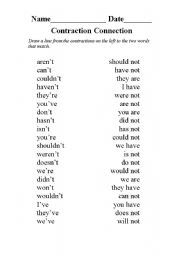English Worksheet: Contraction Connection
