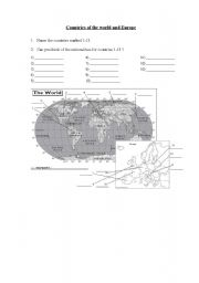 English Worksheet: Countries and nationalities of the world and Europe