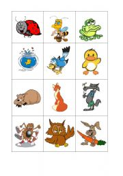 English Worksheets: Animal Memory Cards