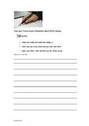 English Worksheets: writing at Entry 1