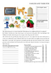 English Worksheets: Families and their pets 2