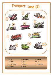 English Worksheet: Means of transport: Land (2)