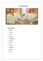 English Worksheet: In the living room - find and match