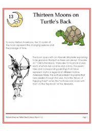 English Worksheets: 13 moon on turtles back (American Indian Story)