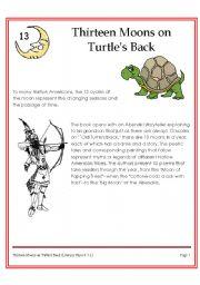 English Worksheet: 13 moon on turtles back (American Indian Story)