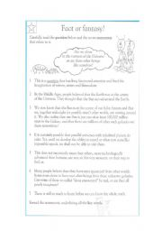 English Worksheets: reading comprehension (fact or fantasy)