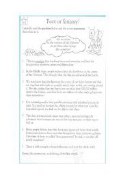 English Worksheets: reading comprehension (fact or fantasy)