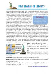 English Worksheet: The Statue of Liberty