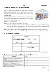 English Worksheet: 5th form - TEST -2nd part