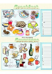 English Worksheet: Food - Breakfast and Beverages Fill in the Blanks