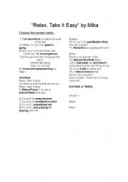English Worksheets: Relax take it easy