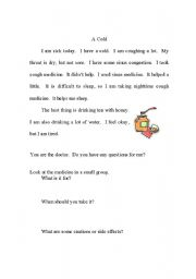 English Worksheet: A Cold/ Practice with Medicine Labels