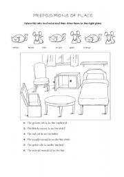 English Worksheets: Prepositions of place: Cats and mice