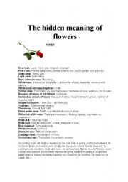 English worksheet: The hidden meaning of flowers