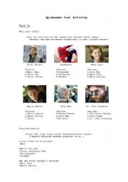 English Worksheet: Spiderman 2 - Oral activity