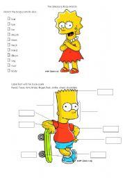 English Worksheet: Simpsons Body Parts Worksheet