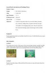 English worksheet: poem lesson plan