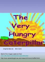 English powerpoint: The Very Hungry Caterpillar Part 1 ( Part 2 follows)