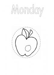 English powerpoint: Days of the week from A Very Hungry Caterpillar Original Black & White.