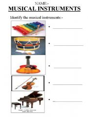 English powerpoint: Identify the Musical Instruments