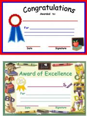 English powerpoint: Awards for students
