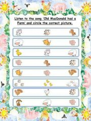 English powerpoint: SONG AND ACTIVITY (5 pages)-OLD MAC DONALD HAD A FARM