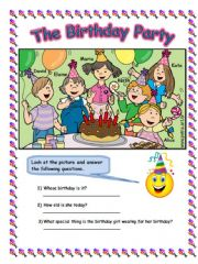 English powerpoint: look at the picture and answer the question -THE BIRTHDAY PARTY - 2PAGES worksheet