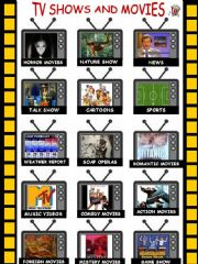 English powerpoint: TV shows and movies (2 pages)