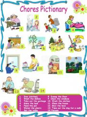 English powerpoint: Chores Pictionary (3 pages) 2 activities