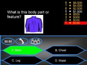 English powerpoint: Who wants to be a millionaire? - Body parts and features