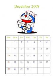 English powerpoint: Calendar Dec 2008 and Jan 2009