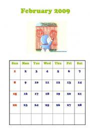 English powerpoint: Calendar-Feb 2009, Mar 2009
