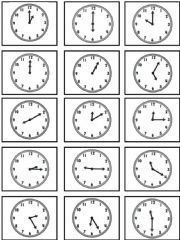 English powerpoint: Telling Time memory cards 2 of 2
