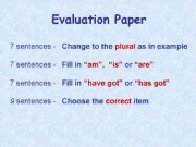 English powerpoint: Evaluation Paper - Primary Level