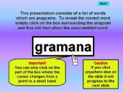 English powerpoint: Kitchen Furniture - anagrams