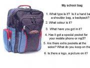 English powerpoint: school bag
