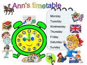 English powerpoint: Ann´s timetable