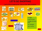 English powerpoint: Shopping list - Let´s go shopping